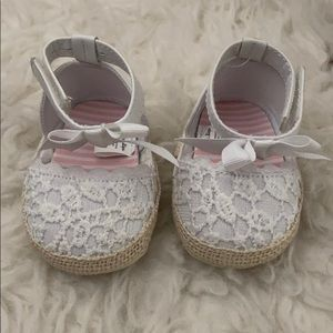 White baby ankle wrap flats